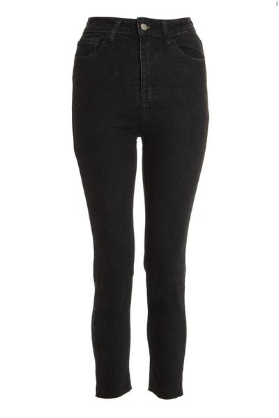 Petite Black Acid Wash Mom Jeans